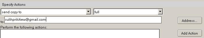 menentukan alamat email tujuan