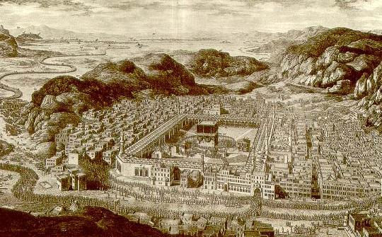 Keadaan Makkah pada tahun 1850 (sumber: Wikipedia)