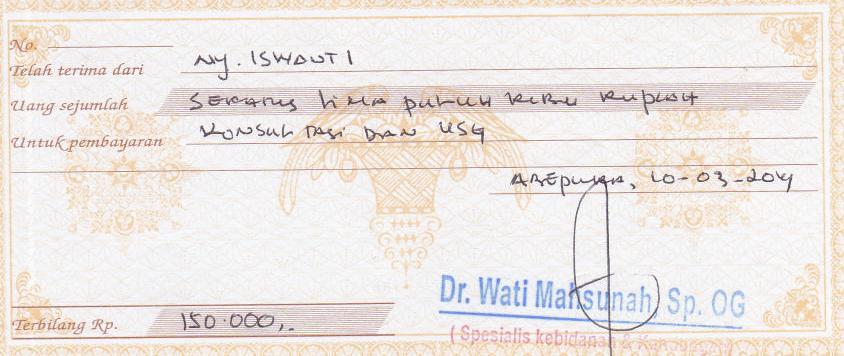 Kwitansi Konsultasi Dokter dan Pemeriksaan USG
